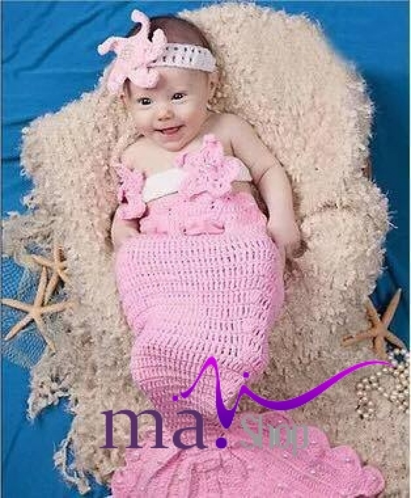 đạo cụ chụp hình cho bé len dệt nàng tiên cá