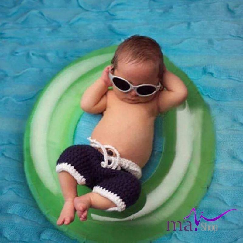 đạo cụ chụp hình cho bé quần len dệt bé trai đáng yêu