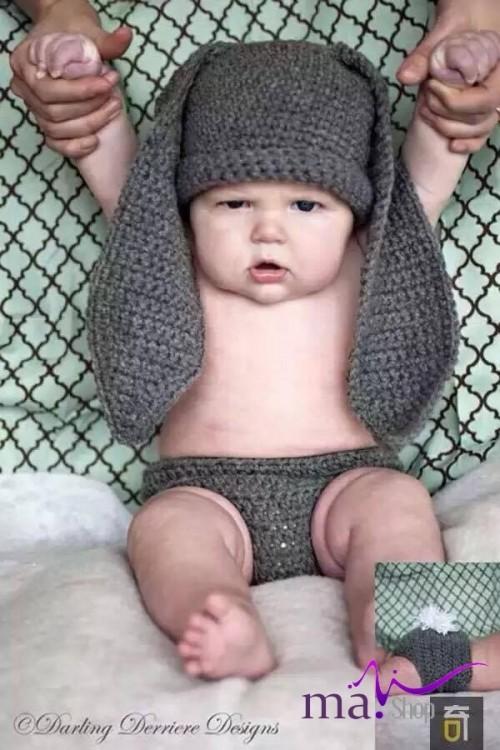 Đạo cụ chụp hình cho bé hình cú thỏ xám đáng yêu