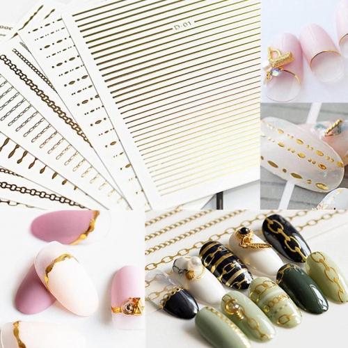 0909 Decal dây xích trang trí móng nhiều màu